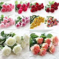 Wholesale Wedding Bouquets Pink Roses - 10 Head Decor Rose Artificial Flowers Silk Flowers Floral Latex Real Touch Rose Wedding Bouquet Home Party Design Flowers