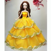 Wholesale Luxury Party Dresses Girls - Wholesale-New Luxury Lovely Orange Fashion Wedding Gown Dresses Clothes Outfit Girl Party For Princess Doll Xmas Gift