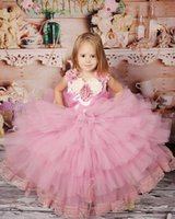 Wholesale Silver Voile Lace - 2016 New Hot Pretty Pink Jewel Sleeveless Full Length Voile Flower Girls Dresses with Handmade Flowers Girls Pageant Dresses