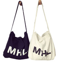 Wholesale Cotton Printed Sling Bag - Wholesale-2015 Women Casual Letter MHL Print Canvas Handbags Female Denim Cotton Sling Bag Ladies Shoulder Bags Brand Reusable Bolsas