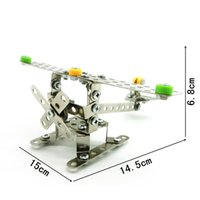 Wholesale Built Aircraft Models - Stainless Steel Building Blocks Stereo Aircraft Model 3D Assembly Toys Puzzle Metal Toy Bricks High Quality LX011 B