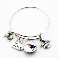 Wholesale Adjustable Snake Rings - 10pcs lot New Football team sports ginger snap bracelet jewelry expandable adjustable wire hook diy bracelet&bangles