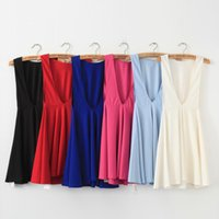 Wholesale New Sexy Casual Lady Pleated - Vest Dress Women New Backless Sexy Solid Color Fashion Elegant Temperament Noble Sleeveless Skirt High Quality Minimalistic Lady Clothing