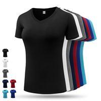 chemises de course v cou achat en gros de-Nouveau T-shirt de sport pour femmes Sportswear Blouses Manches courtes V Cou Compression Gym Shirt pour femmes Fitness Running Athletic Exercise Shirt
