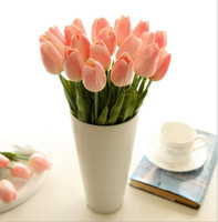 Wholesale tulip christmas bouquet - PU Tulip display flower real touch non-polluting PU Tulip Artificial Flowers Simulation Wedding or Home Decorative Flower Free shipping