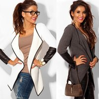 Wholesale Ladies Fitted Jackets - 2015 Autumn Spring PU Leather Sleeve Coat Women Fashion Jakcet Ladies Cotton Slim Fit Brand Jacket Feminino Female Knitwear