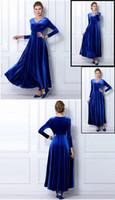 Wholesale Growing Fashion - Autumn plus size clothing fashion velvet v-neck grew up wave floor-length gold velvet dress dress