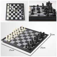 "Wholesale Chess Sets Wholesale - fashion kid's gift Folding Champions Chess Set 2 in 1 Travel Magnetic Chess and Checkers Set 9.84"" D714J"