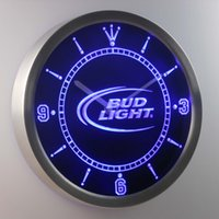 Wholesale Beer Sign Led - nc0470 Bud Light LUMINOVA Neon Sign Bar Beer Decor LED Wall Clock Free Shipping Dropshipping Wholesale