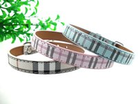 All'ingrosso-Luck Pet Products nuovo arrivo Plain Plaid Stampa Pu Leather Pet Collari MOQ 1 parte 3 colori disponibili SM044