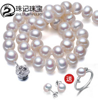 Wholesale Necklace Two One - 8-9mm natural pearl necklace jewelry rich light flawless genuine female free shipping buy one get two (rings, earrings)
