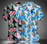Wholesale Cheap Men Clothes Plus Sizes - Wholesale- Striped Shirt Men Print Folwer Plus Size Men Shirt Hawaiian Shirt Floral Shirts Men Cheap Clothes China Short Sleeve lz701