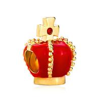 cristal cruz bead pulseira vermelho venda por atacado-Metal Slider Spacer Esmalte Vermelho Cruz De Ouro de cristal Coroa Europeu Bead Fit Pandora Chamia Biagi Charme Pulseira