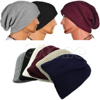 Atacado-Chic Unisex Homens Mulheres Quente Oversize Beanie Barrete Inverno Slouchy Knit Ski Hat 6Colors