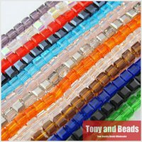 Wholesale Square Crystals 4mm - Wholesale-100Pcs Lot 4mm Square Faceted Glass Crystal Spacer Beads For Jewelry Making 17Colors In Total Free Shipping No.CB4
