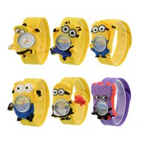 3D Eye Despicable Me slap watch minion Montres précieuses Milk Dad Montres pour enfants Slap Snap On Silicone Quartz Wrist Watch