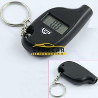 Wholesale motorcycle sensor - Mini Car Tire Pressure Gauge sensor Tester Keychain Key chain Digital LCD Tire Car Tyre Air Pressure Gauge For Car Auto Motorcycle