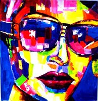Wholesale Modern Face Oil Painting Canvas - Hand painted Modern Knife Pictures On Canvas A Oval Face Woman With The Sun Glasses Oil Painting For Room Decor Wall Painting Hang Craft