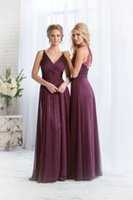 Wholesale Plum Chiffon Dress - Cheap 2015 Bridesmaid Dresses Plum V Neck Chiffon Long Maid of Honor Dress Plus Size Chiffon China High Quality Wedding Hot Bridesmaid Gowns