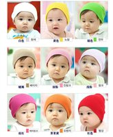 Wholesale Knitted Girls Cloche - 12pcs Baby Caps Cloches Children's Hats New solid color newborn baby cotton candy baotou hat sets infant children hat knitting hat wholesale