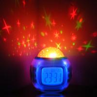 gökyüzü projeksiyon projektörü toptan satış-Moda Yeni LED Renkli Müzik ile Yıldızlı Yıldız Sky Projeksiyon Projektör Çalar Saat Takvim Termometre Noel