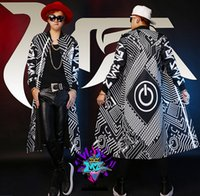 Wholesale Show White Costume - Fall-BIGBANG Men Singers Stage Show Black and White Mechanical Switch Long Baseball Uniform Long Coat Costumes ! S-3XL free shipping