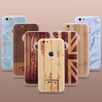 Wholesale Iphone Uk Flag - For iphone 6S UK Flag Design Metal Bumper 3D Wooden Pattern Grain Case Marble Detachable Hard PC Cover For iphone6 6 plus 6Plus