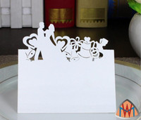 Wholesale wedding bell place cards - 100pcs Laser Cut Hollow Heart Bell Bride and Groom Paper Table Card Number Name Card For Party Wedding Place Card Decorate