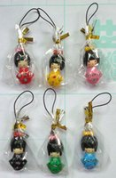 Wholesale Cell Phone Charms Doll - Wholesale 4 Pack 24 pcs lot Free Shipping,Phone Charms, Japanese Oriental Kokeshi Doll PVC Cell Phone Straps