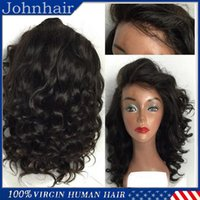 Wholesale Machine For Hairstyle - Hot Sale Short Human Hair Lace Front Wigs   Full Lace Wigs With Baby Hair Loose Wave Brazilain Virgin Wig For Black Women