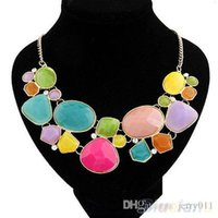 Wholesale Drop Gem Bib - 2016 New Multicolor Gem Drop Pendant Statement Crystal Choker Bib Necklace 00XX