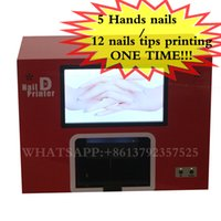 Wholesale Nails Digital Printing Machines - Free shipping digital nail art machine printing on nails and flowers with different images 5 nails printing one time nail art tool for salon