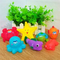 Wholesale Baby Kids Manufacturer - Color Marine Animals Baby Water Fun Bathing Toys Pinch Sounds Rubber Kids Swiming Beach Sand Play Baby Toys Direct Sales by Manufacturer