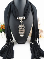 Wholesale Cotton Scarves Owl Pendants - size 180*40 Cheap Infinity Scarves Women Ladies Girls Necklace Scarves Owl Pendant Jewelry Alloy Tassels Scarf Shawl 20 Colors LD