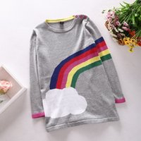 Wholesale Rainbow Stripe Sweater - PrettyBaby Kid Girls Rainbow Color Knitting Stripes Sweater Dresses Baby Crochet Long Sleeve Children Kid Girl Straight Dress free shipping