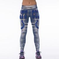 heiße goldgamaschen großhandel-Heißer verkauf hohe taille mode 3d sublimation indianapolis gedruckt fitness frauen yoga gym colts fußball team sport leggings