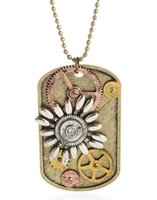 Wholesale Necklace Watch Beaded - Steampunk Collage Pendant Watch Parts Gears Cogs Clockwork Dog Tag Antique Bronze Plated Beaded Necklace 24pcs Lot Free Shipping 1201B9