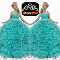 Wholesale Teen Girls Occasion Dresses - Free Shipping Luxury Crystal Girls Teens Girl's Pageant Dresses Spaghetti Strap Formal Occasion Flower Ball Gowns Hunter