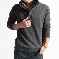 Wholesale Two Color Cardigan Sweater - Sweater Pullover Men Male Brand Casual Slim Sweaters Men Fake Two Pieces Of Grid Solid Color Hedging Men'S Sweater MY10