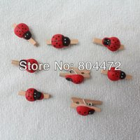 Wholesale Mini Pegs Wooden - Wholesale-Wholesale lady bug mini peg birch wooden clothes pins | Lady buy clothespin for Educational Toy, 3000 pcs lot, 0007-L