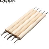 Wholesale Diy Pen Kits - 5 PCS 2 Way Professional Nail Art Tip Dotting Pen Wood Tool Set Manicure Painting Kit Design DIY Tools New