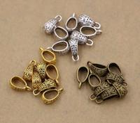 kolye altın kefaleti toptan satış-Sıcak ! 150 adet Antik gümüş / altın / bronz Çinko Alaşım Üçgen Kolye Bağlayıcı Kefalet Klipsler 7x17mm