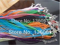 Wholesale Organza Ribbon Waxen Cord Necklace - Mixing Organza Ribbon Waxen Multi-strand Cord Lobster Clasp Necklaces Pendants For Women Jewelry Gifts Accessories 100pcs P1402