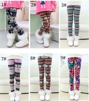 Wholesale Girls Leggings Snowflakes - Colorful christmas Snowflakes Reindeer Printed Silk Legging girls spring autumn winter Warm Bootcut Stretchy Pants 6 p l