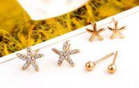 Wholesale Starfish Pearl Stud Earrings - 3pairs = 1 bag Starfish Shaped Earrings For Women Stud Earring Brincos Earing Earings Jewelry star pearls stud