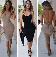 Wholesale Cheap Party Tight Dresses - 2016 Cheap Sexy Women Night Club Out Dresses In Store Black Tight Crossed Backless Summer Party Dress Knee Length Bodycon Dresses