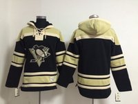 Wholesale men blank sweatshirts - Top Quality ! 100% Stitched Pittsburgh Penguins Old Time NHL Hockey Jerseys Blank No Name Number Hoodie Pullover Sweatshirts Winter Jacket