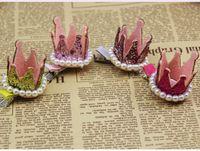 Wholesale Crowns Tiaras Childrens - Girl Hair Clips Childrens Accessories Kid Princess Flower Hair Bows Korean Crown Barrettes Baby Hair Accessories Girls Hairbows