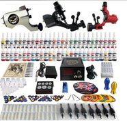 Wholesale professional rotary tattoo machines resale online - Factory Complete Tattoo Kit Pro Rotary Machine Guns Inks Power Supply Needle Grips TK355
