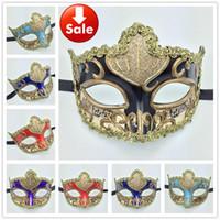 Wholesale Venetian Mask Masquerade Costume Purple - Luxury Party Masks gold sexy lace Woman Mask Carnival Mardi Gras Costume Dance Eye Mask Venetian Masquerade ball decoration wedding gift